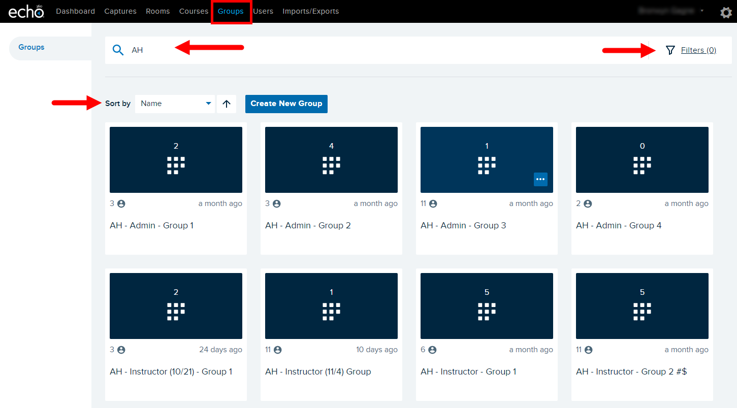 Admin Groups page with search and filter options as well as sort option shown for finding group as described