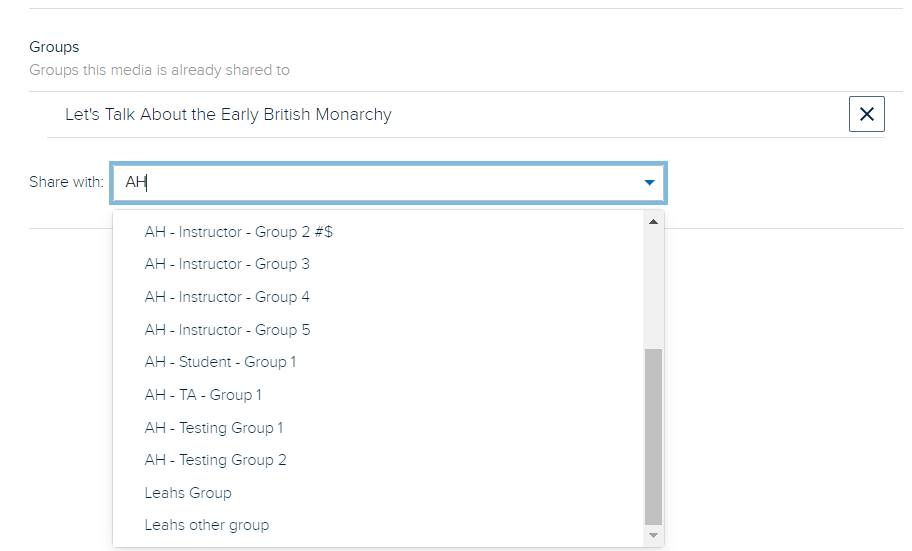 Groups drop-down list with typed search text and matchin selectable groups listed for steps as described